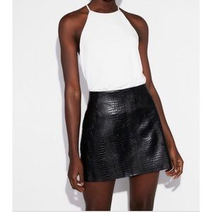 Express Faux Leather Snake Texture Skirt